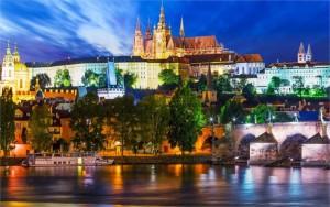 Natureza-paisagem-praga-república-checa-Vltava-cidade-do-rio-noite-luzes-navio-4-tamanhos-tecido-de